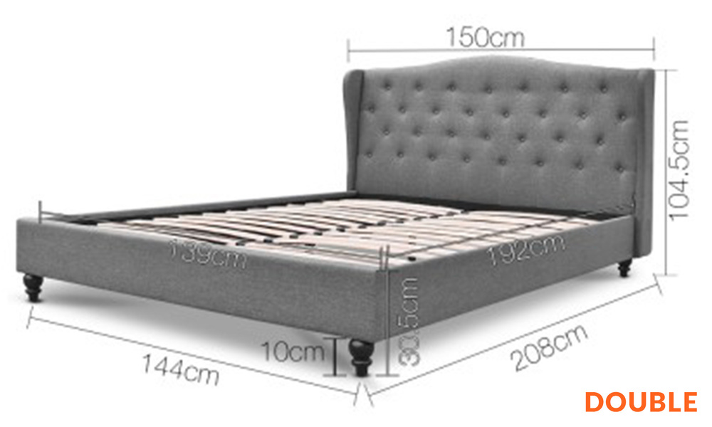 Double   artiss wooden upholstered bed frame with tufted headboard   web1