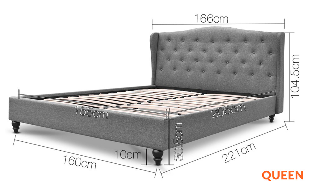 Queen   artiss wooden upholstered bed frame with tufted headboard   web1