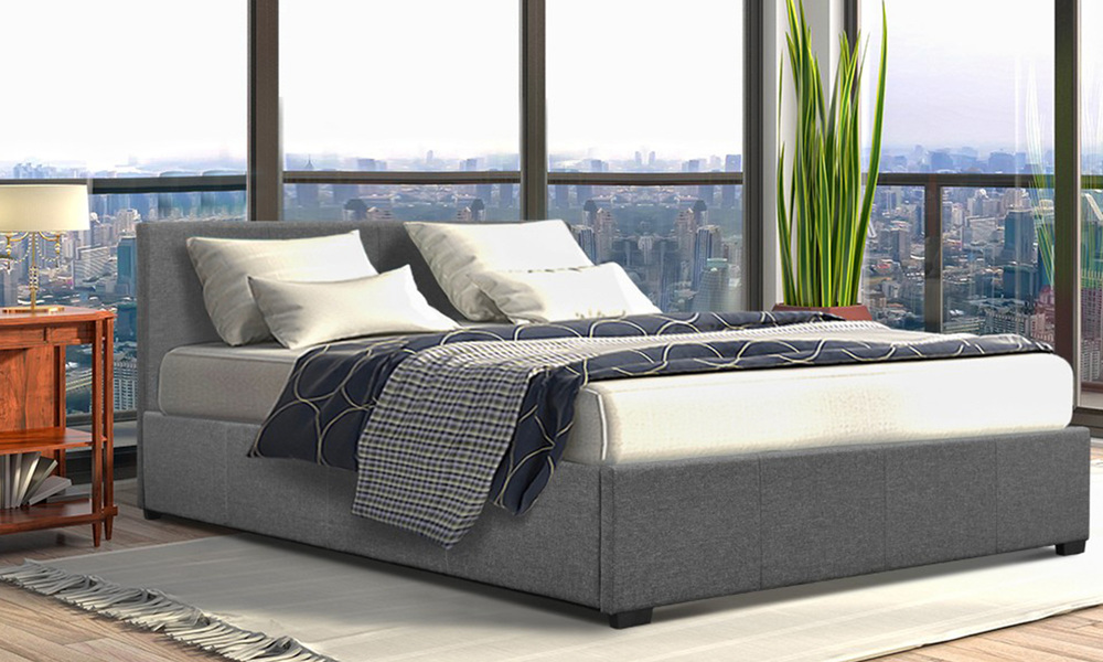 Artiss fabric gas lift bed frame   web1