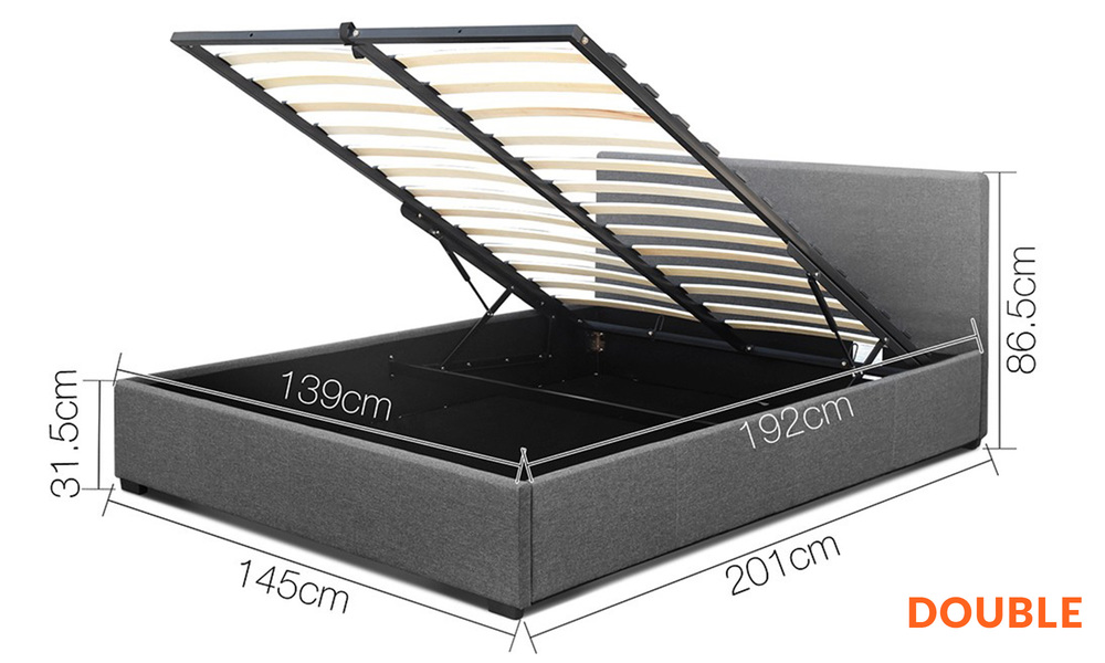 Double   artiss fabric gas lift bed frame   web2