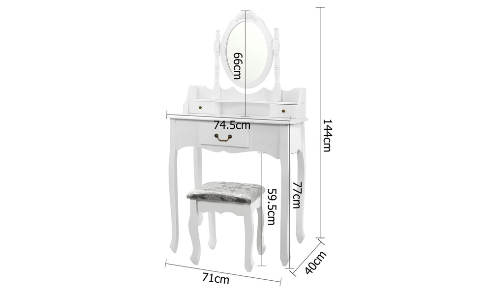 Artiss 3 drawer dressing table with mirror   web3
