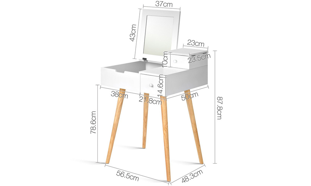Artiss dressing table with foldaway mirror   web2