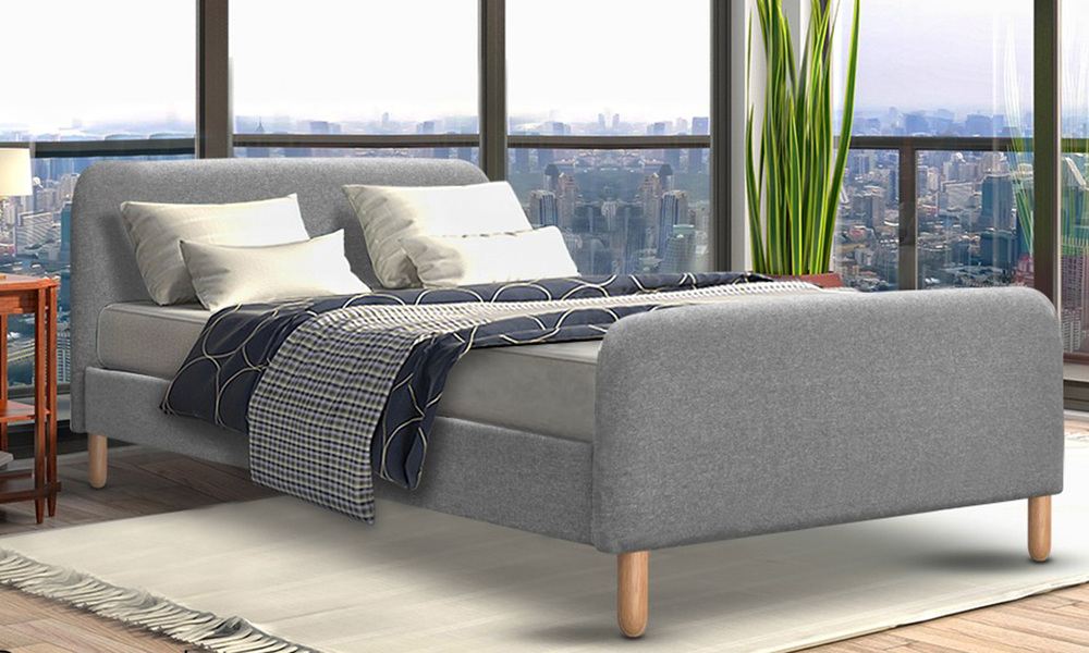Artiss fabric and wood bed frame with curved headboard   web1