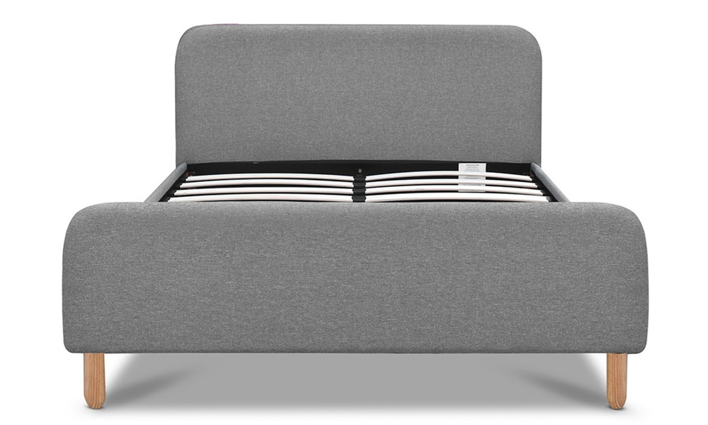 Artiss fabric and wood bed frame with curved headboard   web3