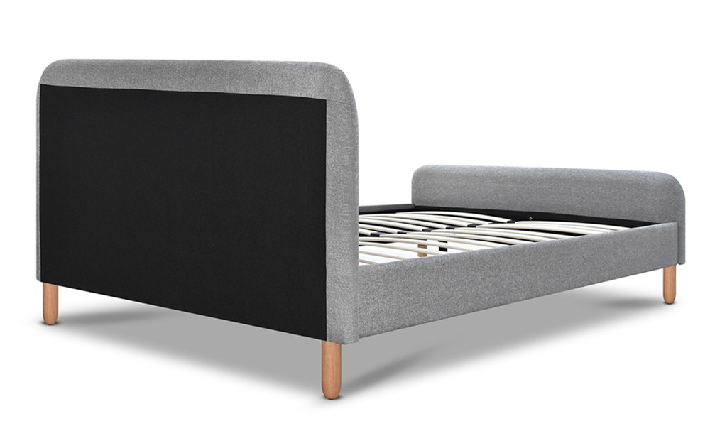 Artiss fabric and wood bed frame with curved headboard   web5