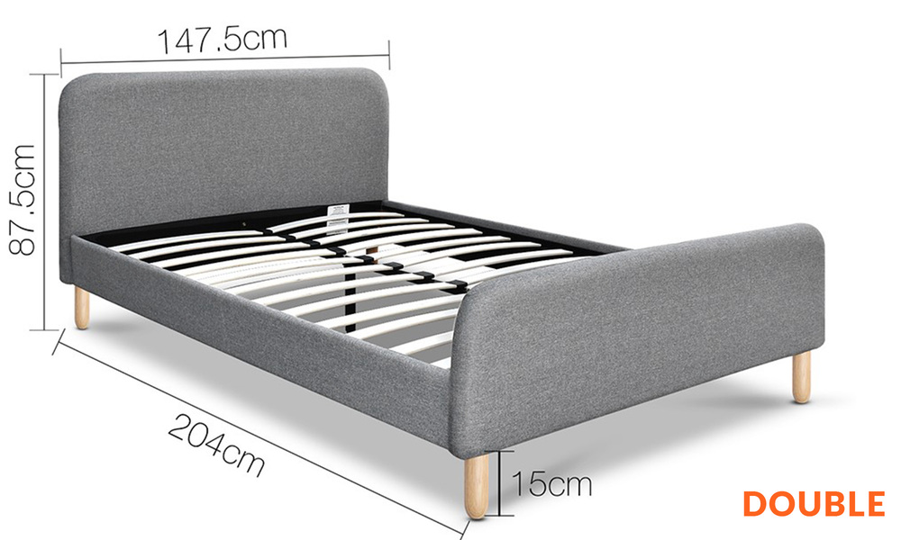 Double   artiss fabric and wood bed frame with curved headboard   web1