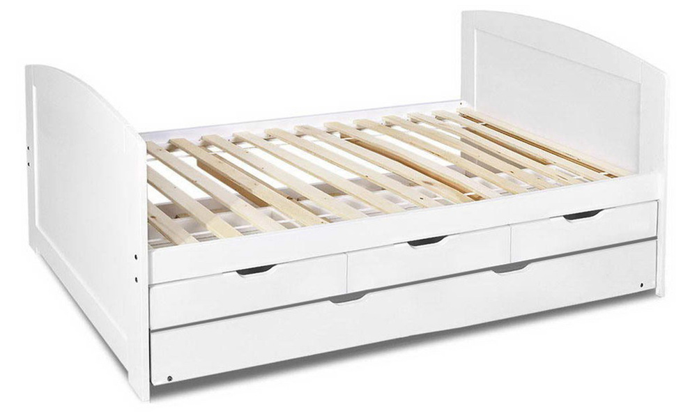 Artiss single wooden trundle bed frame   web1