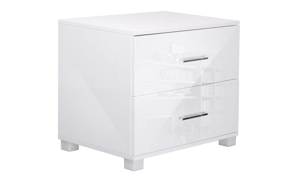 Artiss high gloss two drawers bedside table   web1