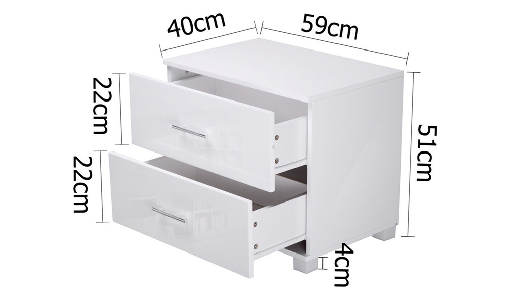 Artiss high gloss two drawers bedside table   web2