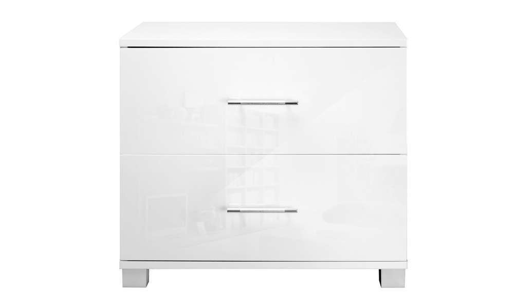Artiss high gloss two drawers bedside table   web3