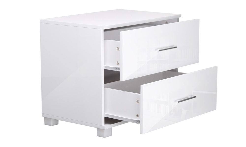 Artiss high gloss two drawers bedside table   web4