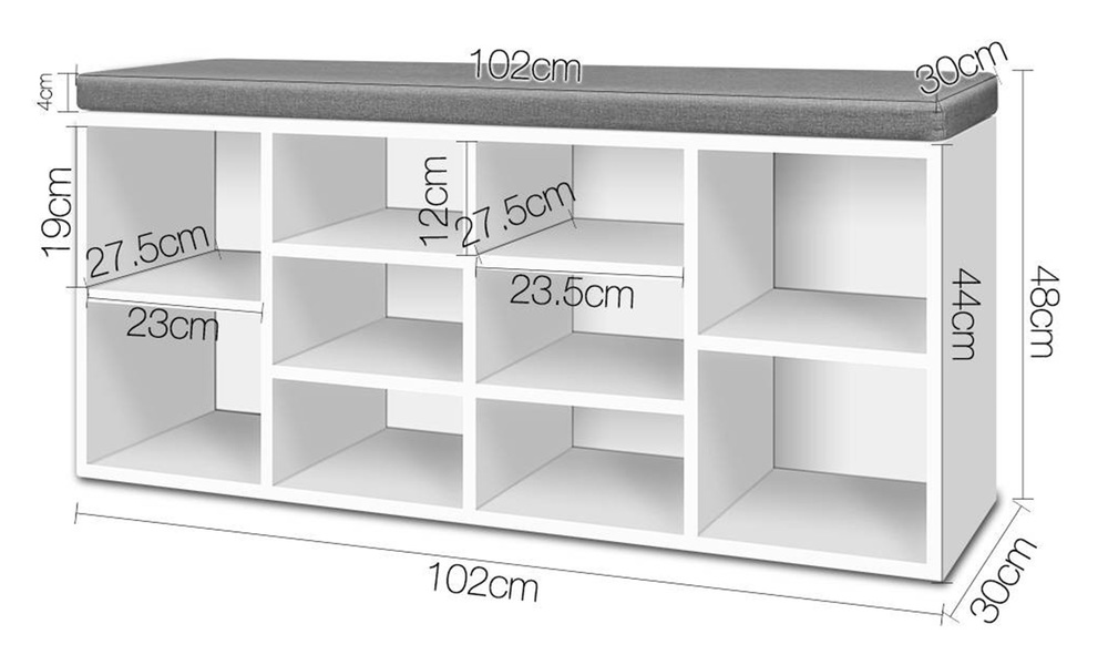Artiss fabric shoe bench with storage   web2