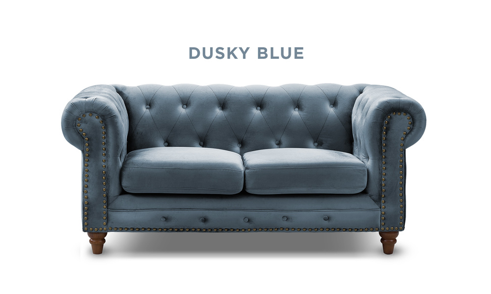 Dusky blue   kensington velvet button 2 seater sofa   web1