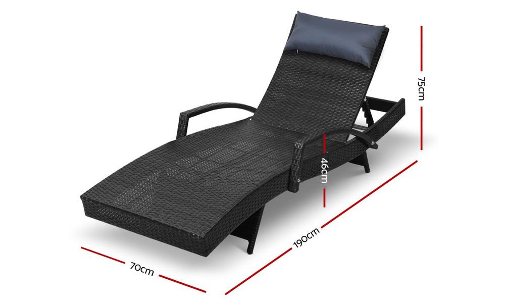 Gardeon sun lounge setting black wicker day bed   web2