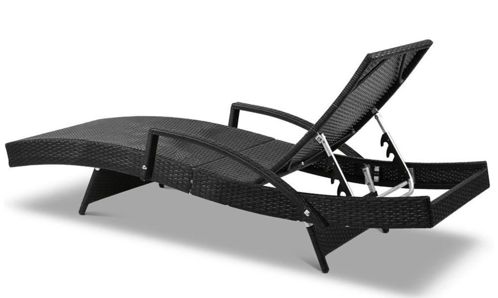 Gardeon sun lounge setting black wicker day bed   web3