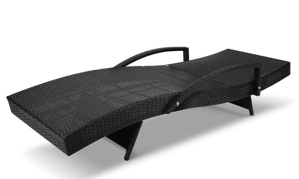 Gardeon sun lounge setting black wicker day bed   web4