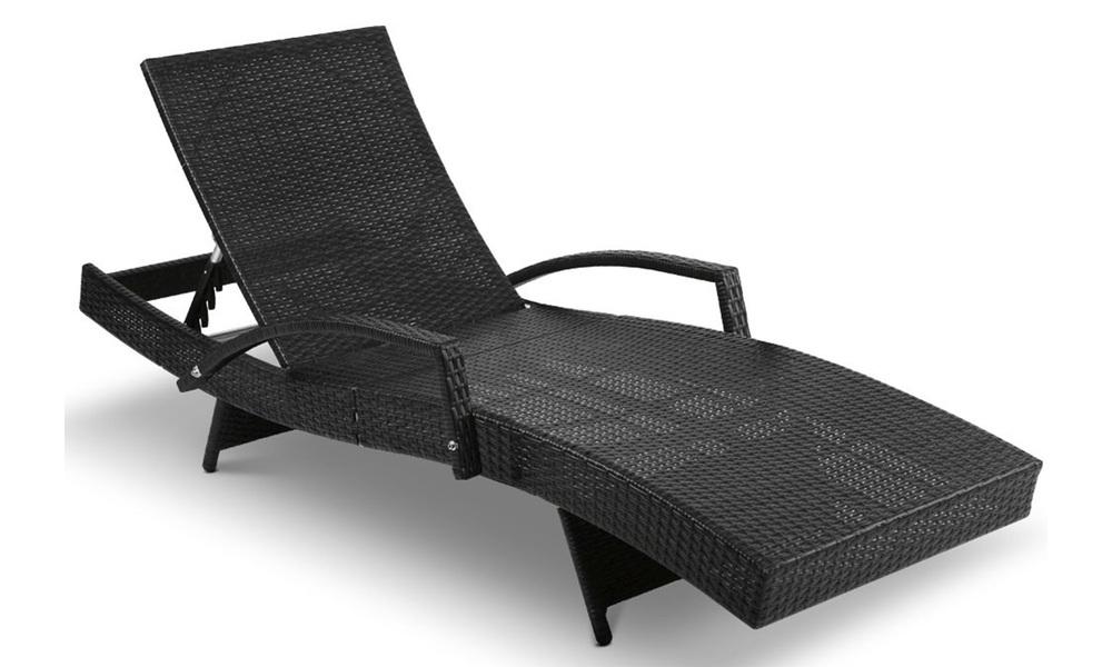 Gardeon sun lounge setting black wicker day bed   web5