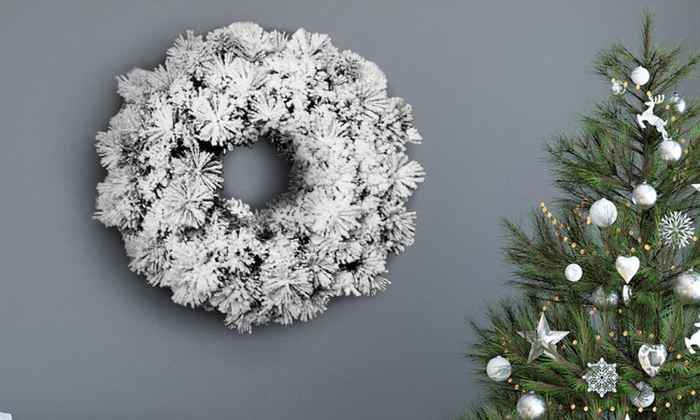 Jingle jollys 60cm christmas snow wreath   web1