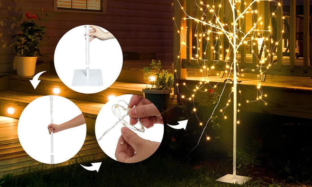 Jingle jollys 1.5m led christmas willow tree 240 led xmas warm white optic fiber   web3