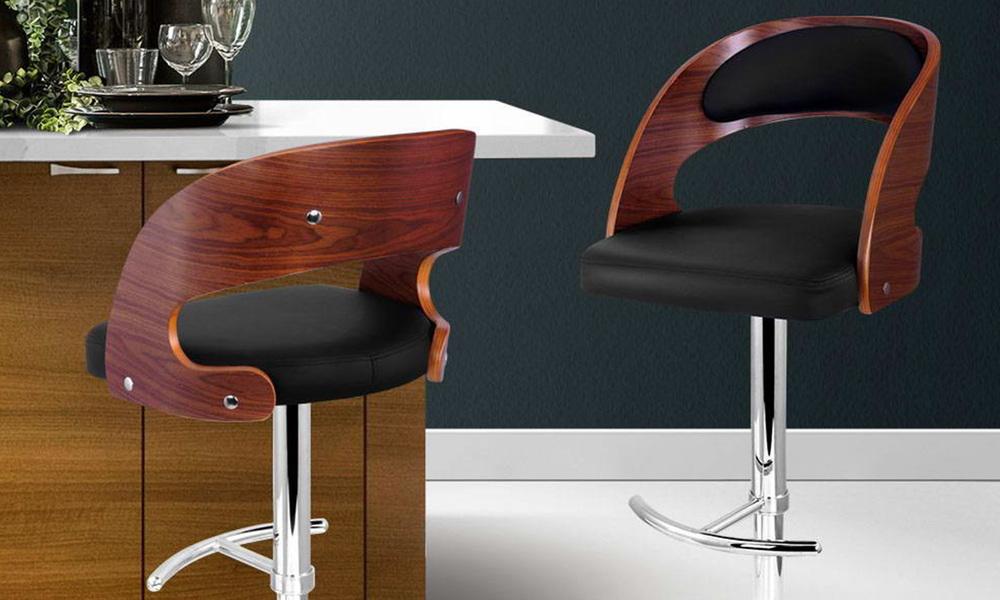 Black   artiss wooden gas lift bar stool   web1