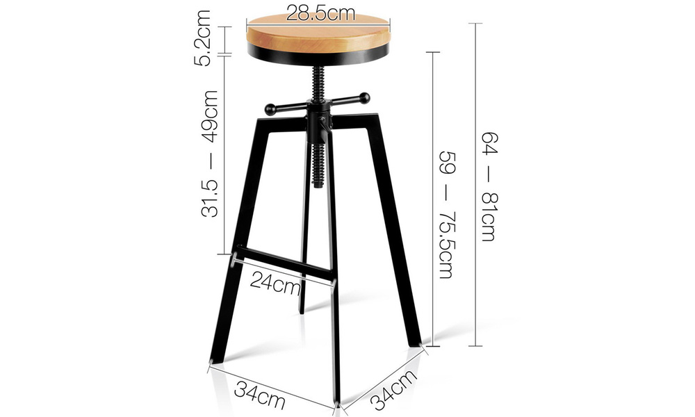 Artiss adjustable height swivel bar stool   web2