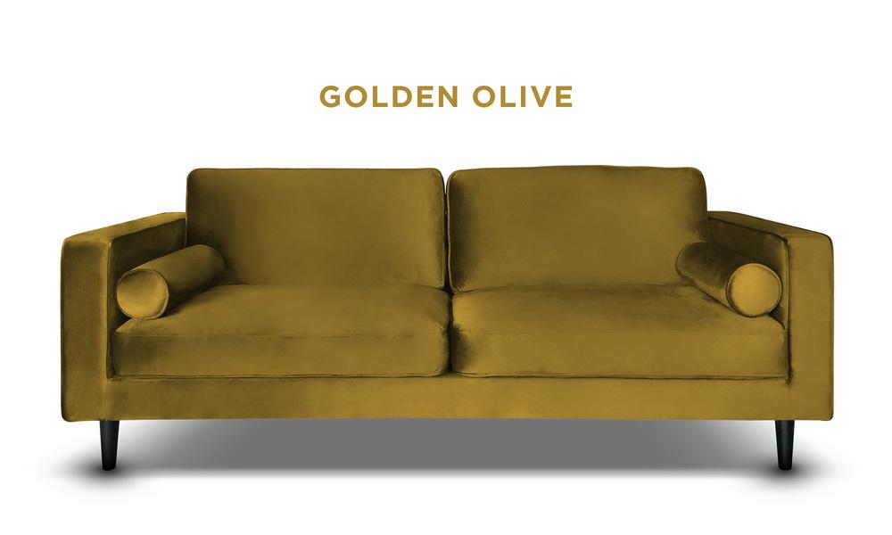Golden olive   hendrix velvet 3s sofa   web1
