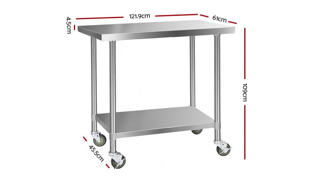 Stainless steel kitchen cart 1.2m    web2