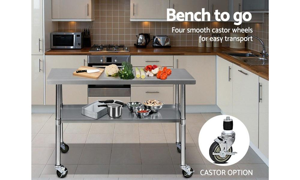 Stainless steel kitchen cart 1.2m    web4