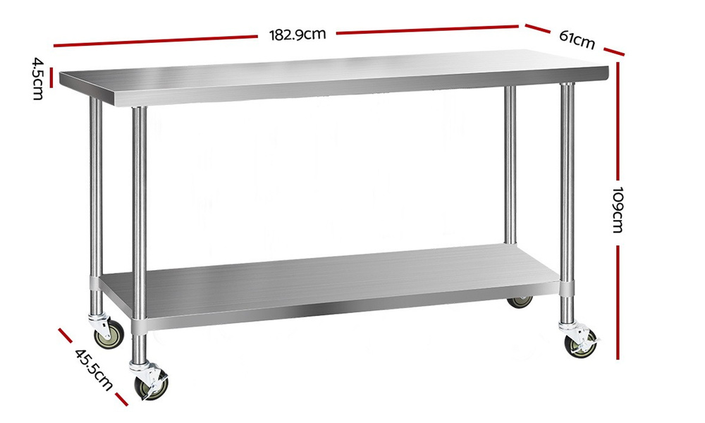 1.8m stainless steel kitchen cart    web2