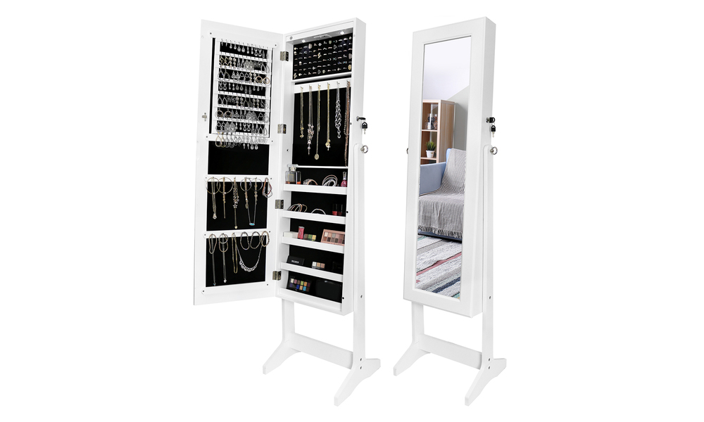 Free standing mirror with jewellery armoire   web1