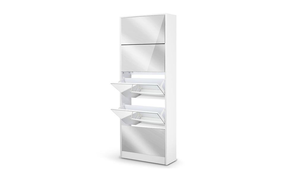 artiss 5 drawer mirrored wooden shoe cabinet   web1