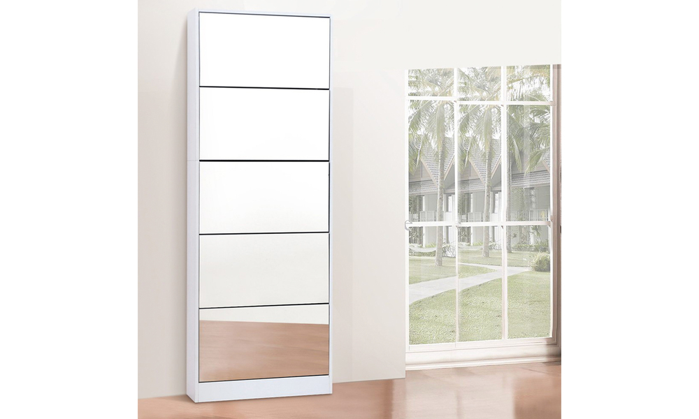 artiss 5 drawer mirrored wooden shoe cabinet   web4