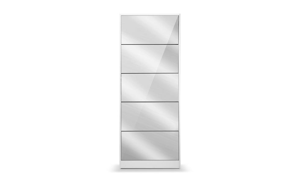 Artiss 5 drawer mirrored wooden shoe cabinet   web2