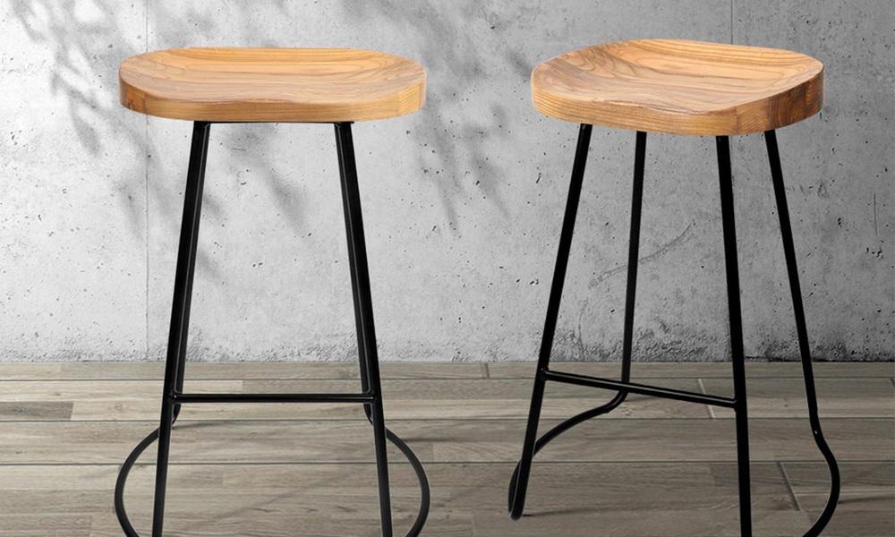 Artiss set of 2 wooden tractor bar stool   natural   web6