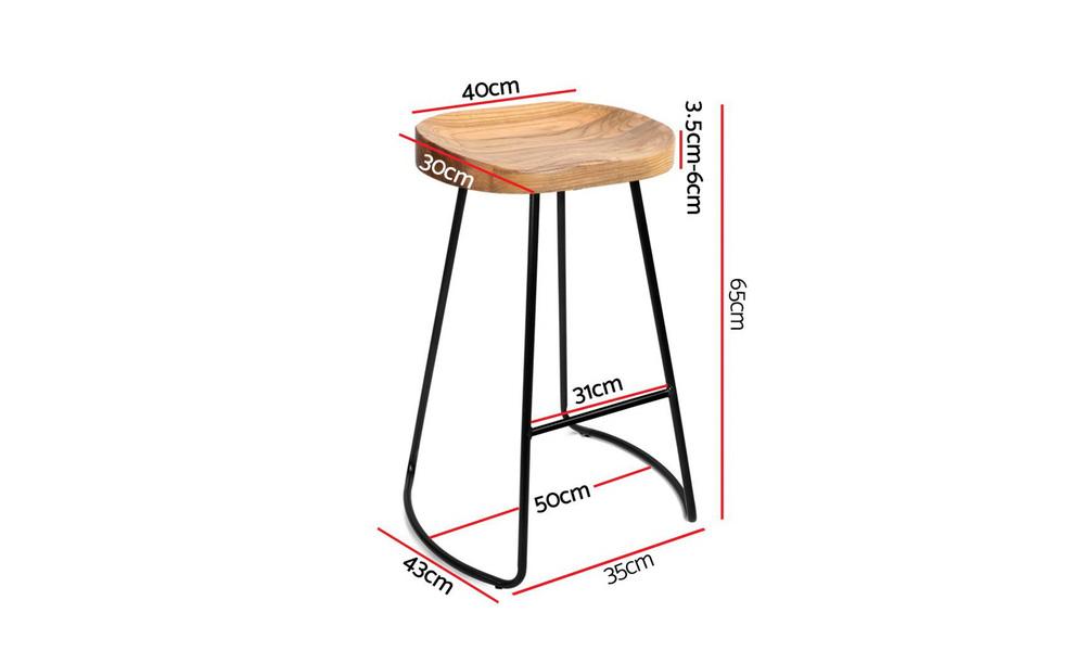 Artiss set of 2 wooden tractor bar stool   natural   web8