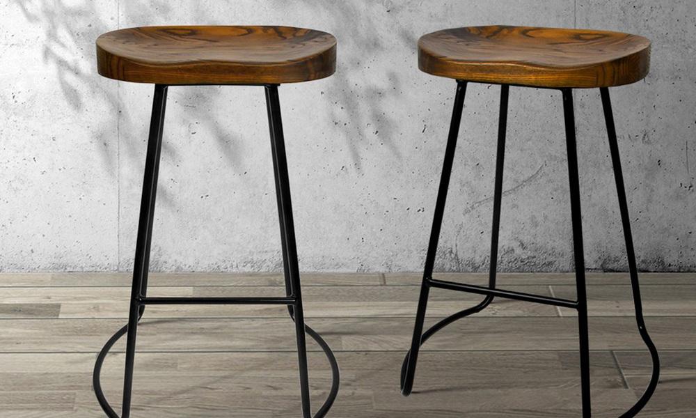 Artiss set of 2 wooden tractor bar stool   dark   web1