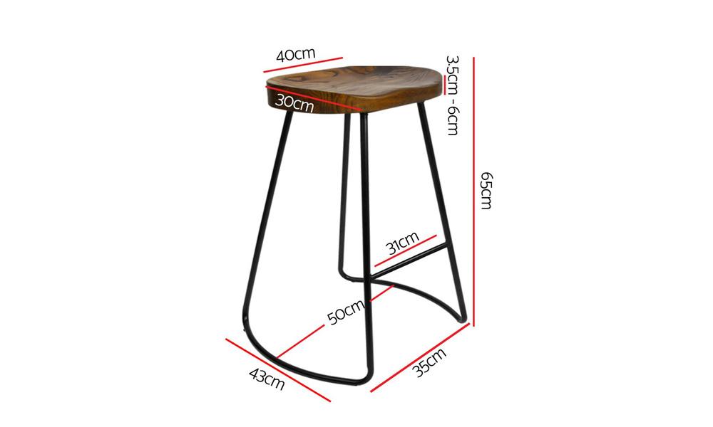 Artiss set of 2 wooden tractor bar stool   dark   web3