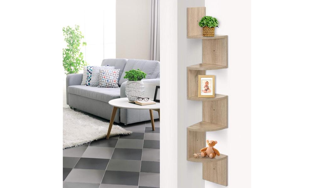 artiss 5 tier corner wall floating shelf oak 1