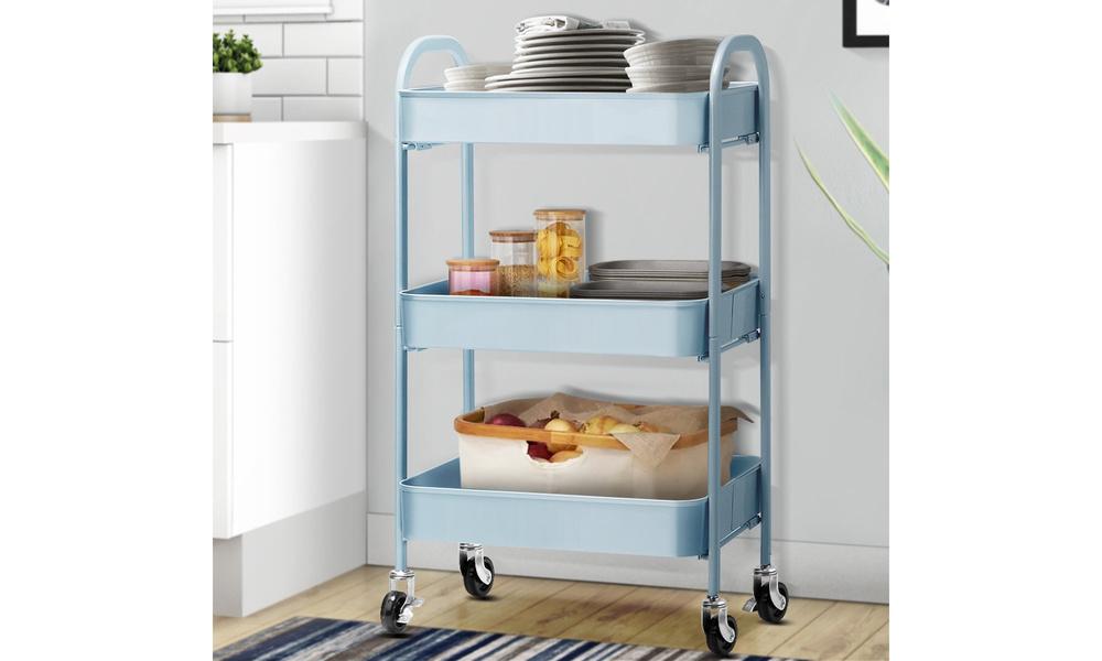 Artiss 3 tier kitchen cart   blue   web4