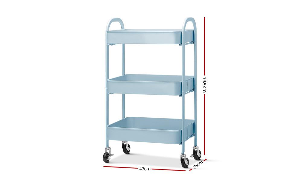 Artiss 3 tier kitchen cart   blue   web6