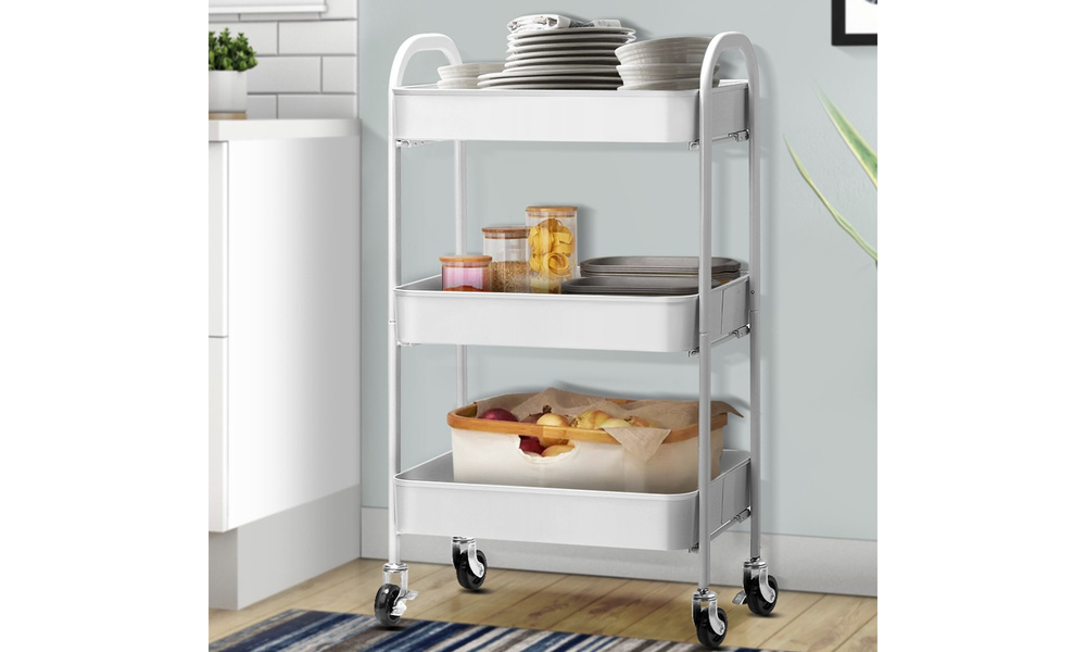 Artiss 3 tier kitchen cart   white   web1