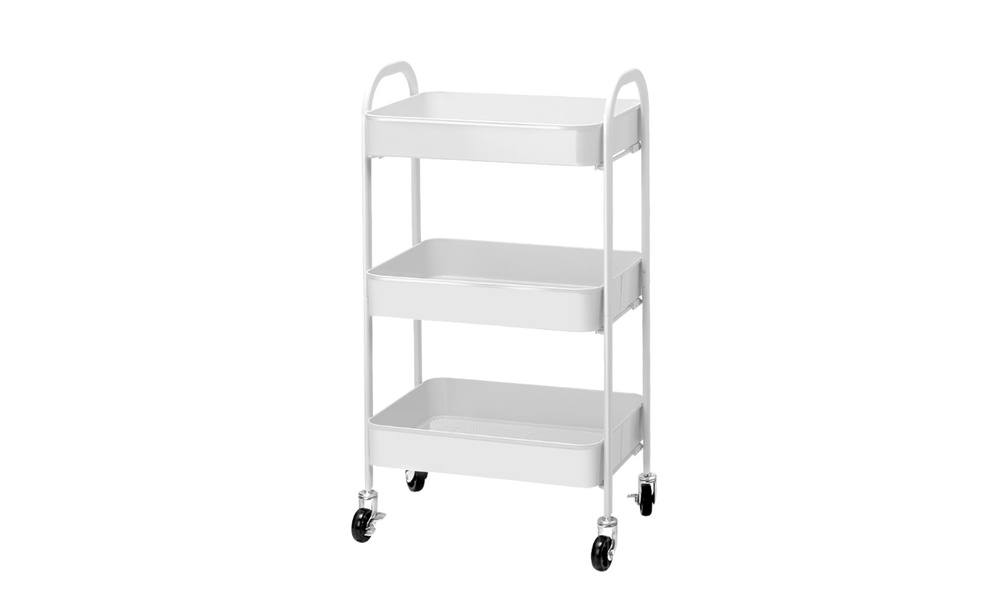 Artiss 3 tier kitchen cart   white   web2
