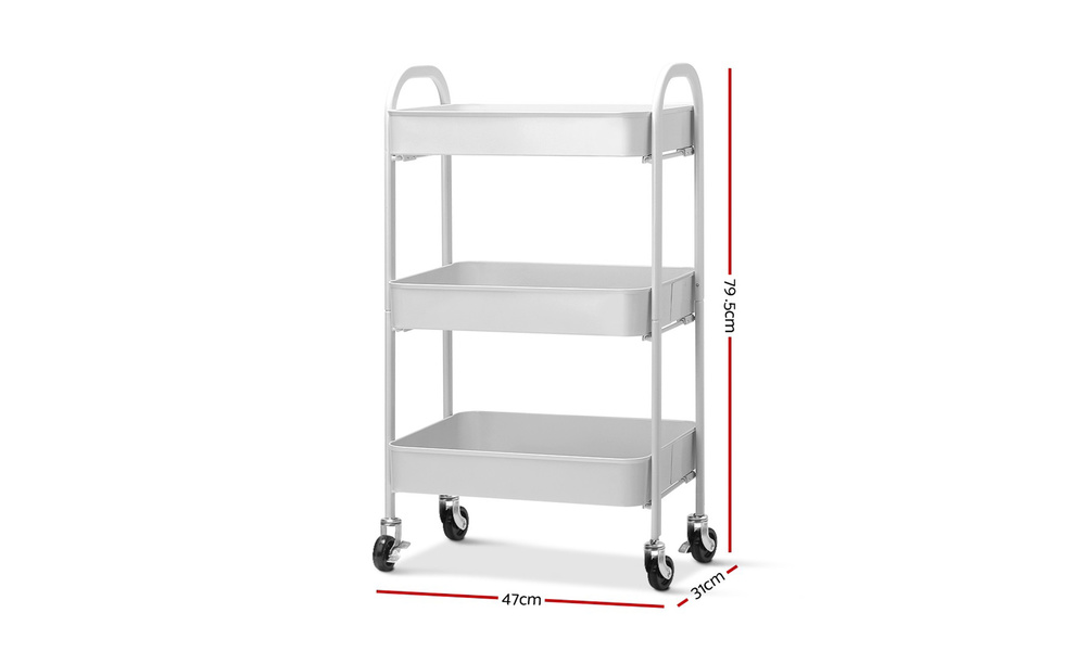 Artiss 3 tier kitchen cart   white    web3