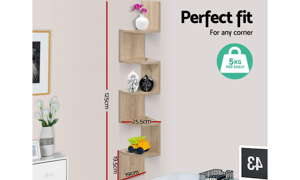 artiss 5 tier corner wall floating shelf oak 4