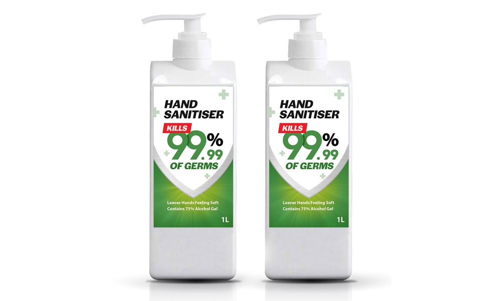 Hand sanitiser 1l   two bottles   web