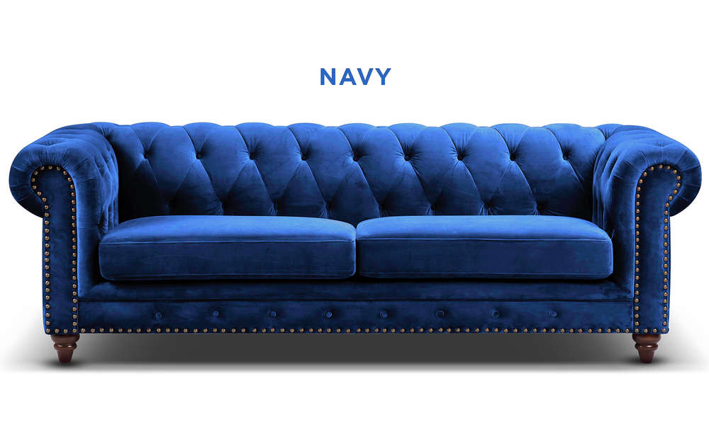 New navy   kensington velvet button 3 seater sofa   web