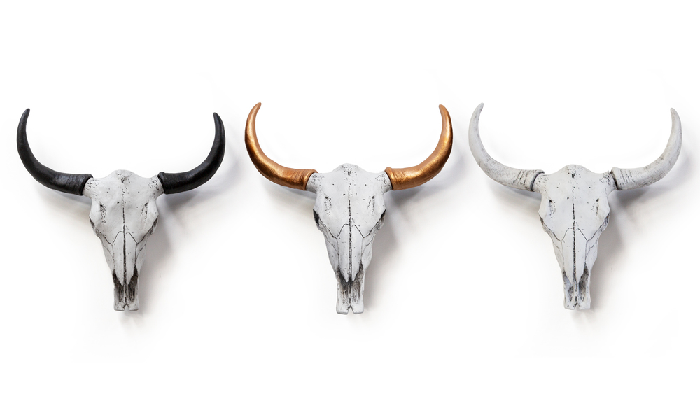 3 x faux cow skulls   web