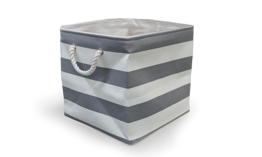 Grey striped storage basket 1892   web