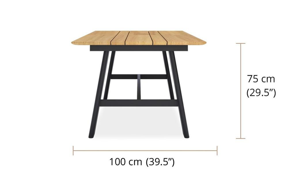 Valencia rectangle dining table 150 aluminium legs 2419   web2 2