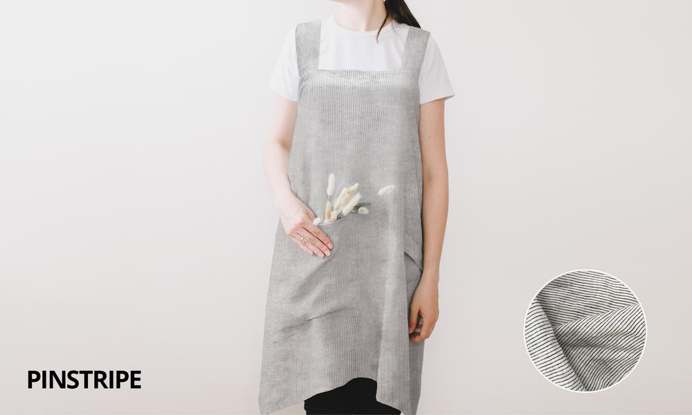 Pinstripe french linen apron 2353   web1